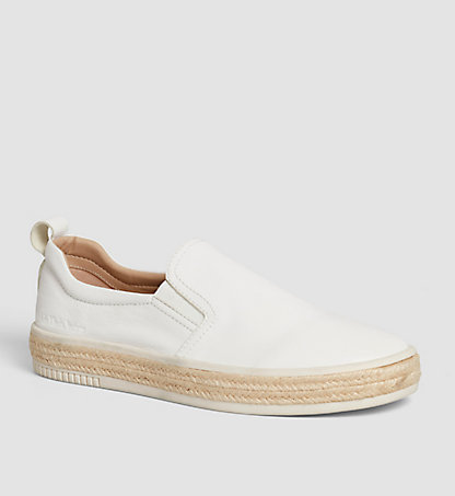 CALVIN KLEIN Leather Slip-On Shoes 00000S1555WHT