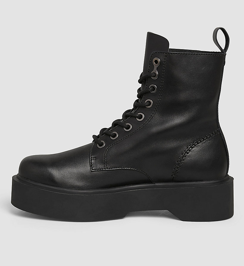 CKJEANS Leather Ankle Boots - BLACK/BLACK - CK JEANS SHOES & ACCESSORIES - detail image 2