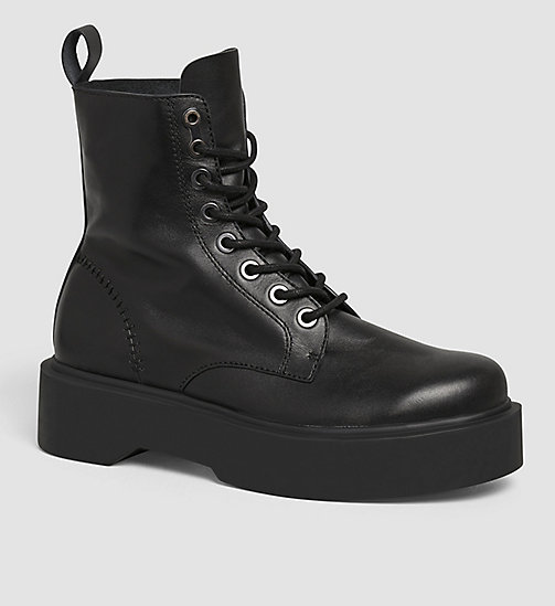 Leather Ankle Boots - BLACK/BLACK - CK JEANS SHOES & ACCESSORIES - main image