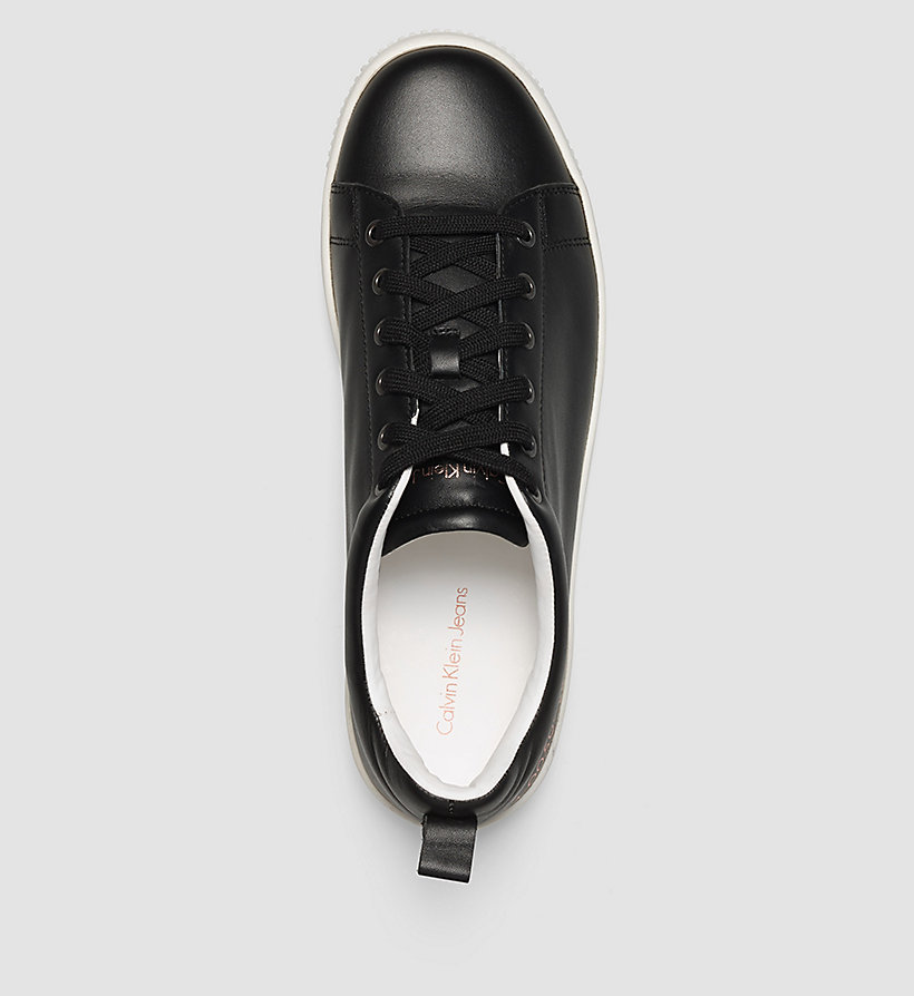CKJEANS Leather Sneakers - BLACK/OFF WHITE - CK JEANS SHOES & ACCESSORIES - detail image 1