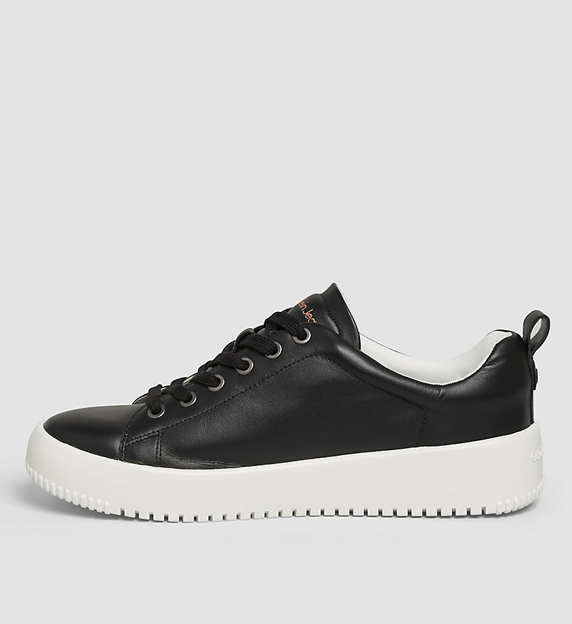 CKJEANS Leather Sneakers - BLACK/OFF WHITE - CK JEANS SHOES & ACCESSORIES - detail image 2