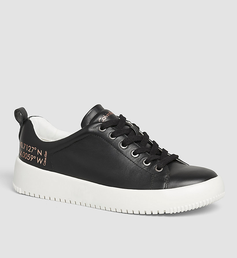CKJEANS Leather Sneakers - BLACK/OFF WHITE - CK JEANS SHOES & ACCESSORIES - main image
