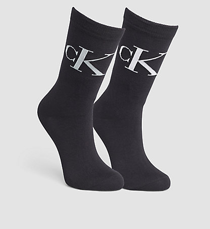 CALVIN KLEIN 2 Pack Cotton Blend Vintage Logo Sock 0000ECB637000