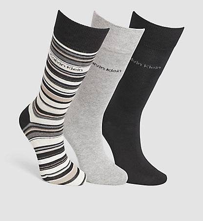 CALVIN KLEIN 3 Pack Striped Socks in Gift Box 0000ECC265096