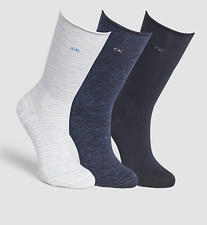 CALVIN KLEIN 3 Pack Roll Top Socks 0000ECK574G66