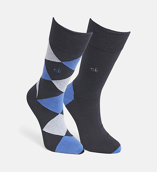 CALVINKLEIN 2 Pack Argyle Socks - NAVY/TRUE ROYAL - CALVIN KLEIN  - main image