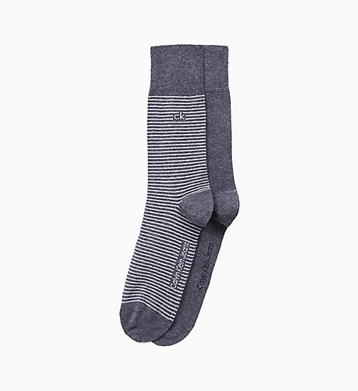 CALVINKLEIN 2 Pack Striped Socks - CHARCOAL HEATHER - CALVIN KLEIN SOCKS - main image