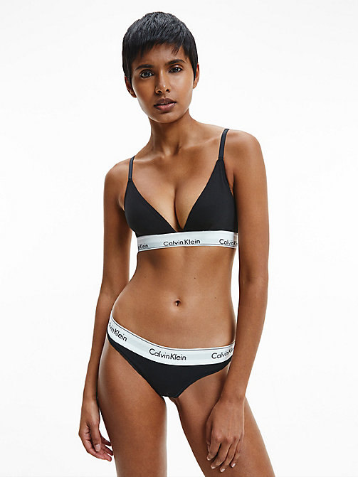 CALVINKLEIN Thong - Modern Cotton - BLACK - CALVIN KLEIN WOMEN - detail image 1