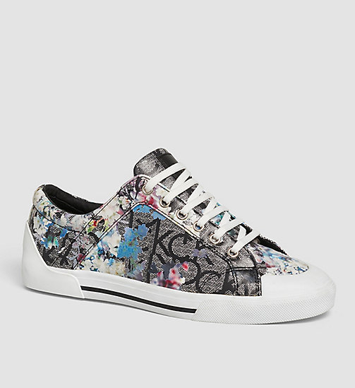 Flower Print Logo Sneakers - BLACK/BLACK - CALVIN KLEIN SHOES & ACCESSORIES - main image