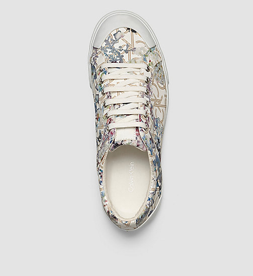 Flower Print Logo Sneakers - BLACK/NATURAL - CALVIN KLEIN  - detail image 1