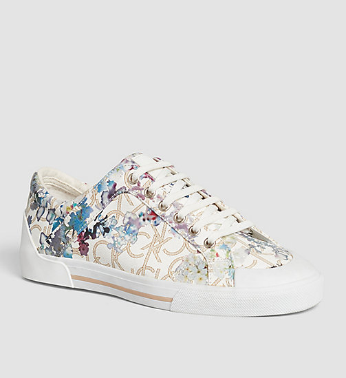 Flower Print Logo Sneakers - BLACK/NATURAL - CALVIN KLEIN  - main image