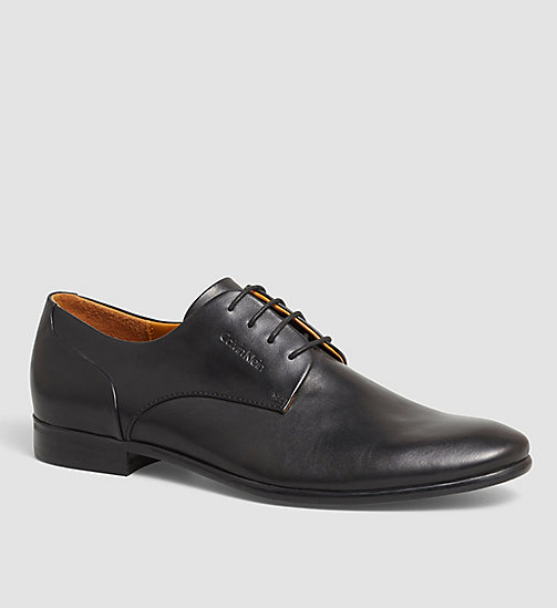 CALVINKLEIN Leather Lace-Up Shoes - BLACK/BLACK - CALVIN KLEIN FLAT SHOES - main image