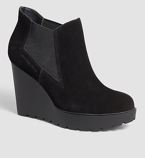 CKJEANS Suede Ankle Boots - BLACK - CK JEANS SHOES - main image