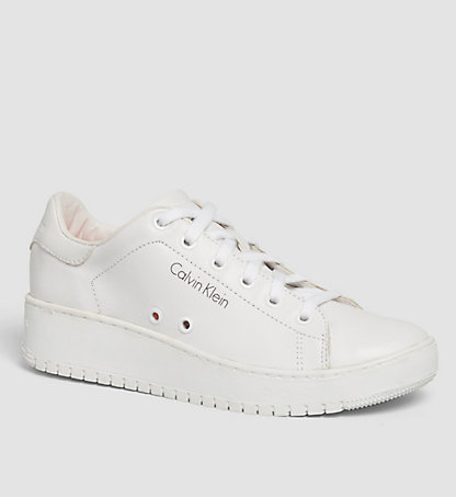 CALVIN KLEIN Leather Sneakers 0000RE9576WHT