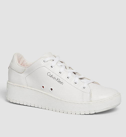 CKJEANS Leather Sneakers - WHITE/WHITE - CK JEANS SHOES - main image