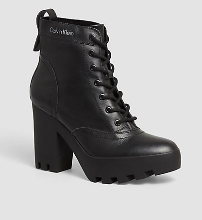 CALVIN KLEIN JEANS Leather Ankle Boots - Serena 0000RE9617BLK