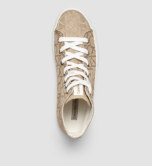 CKJEANS Metallic Jacquard High-Top Sneakers - GOLD/GOLD - CK JEANS TRAINERS - detail image 1
