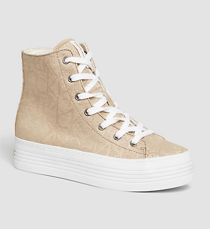 CALVIN KLEIN Metallic Jacquard High-Top Sneakers 0000RE9640GLD