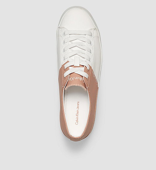CKJEANS Leather Sneakers - WHITE/WHITE/DUSK - CK JEANS TRAINERS - detail image 1