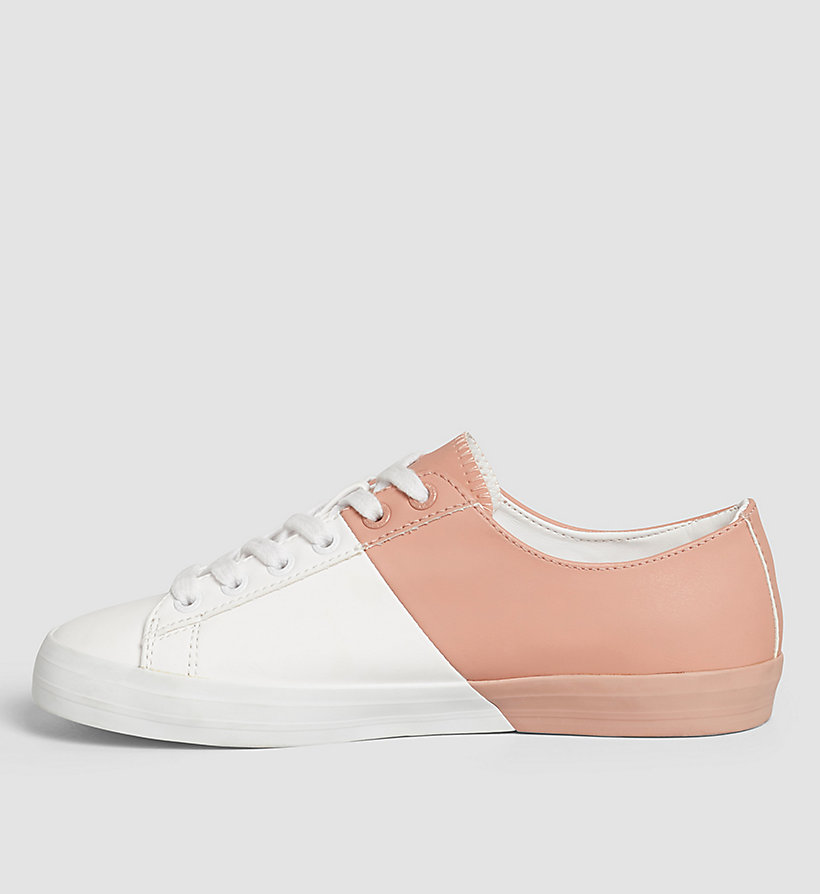 CKJEANS Leather Sneakers - WHITE/WHITE/DUSK - CK JEANS SHOES & ACCESSORIES - detail image 2