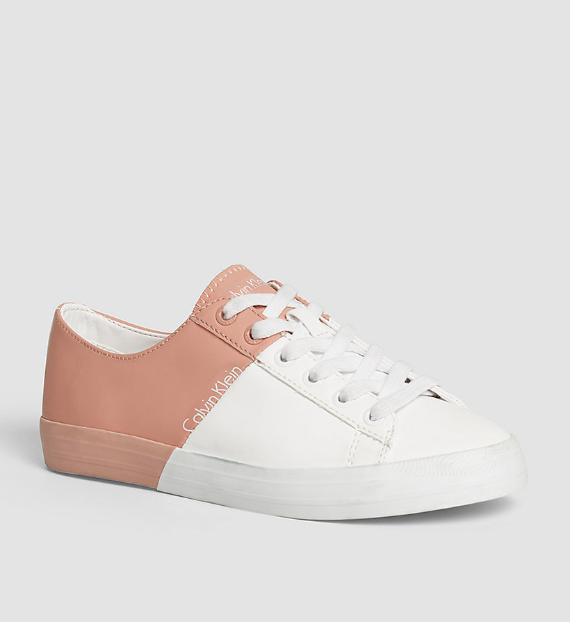CKJEANS Leather Sneakers - WHITE/WHITE/DUSK - CK JEANS SHOES & ACCESSORIES - main image