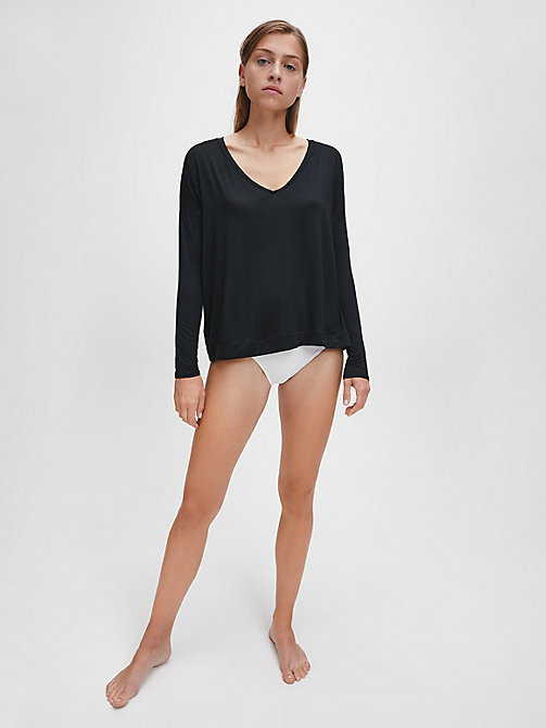 CALVINKLEIN PJ Top - Perfectly Fit - BLACK - CALVIN KLEIN WOMEN - main image