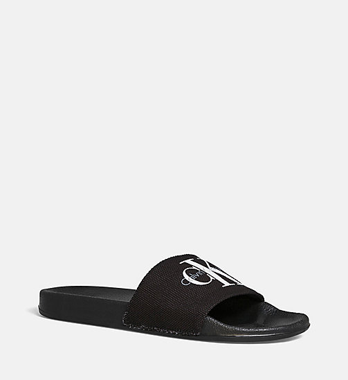 Canvas Logo Slippers - BLACK /  BLACK - CK JEANS SHOES & ACCESSORIES - detail image 1