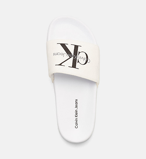 CKJEANS Slipper con logo in canvas - BLACK/WHITE - CK JEANS CIABATTE - immagine principale
