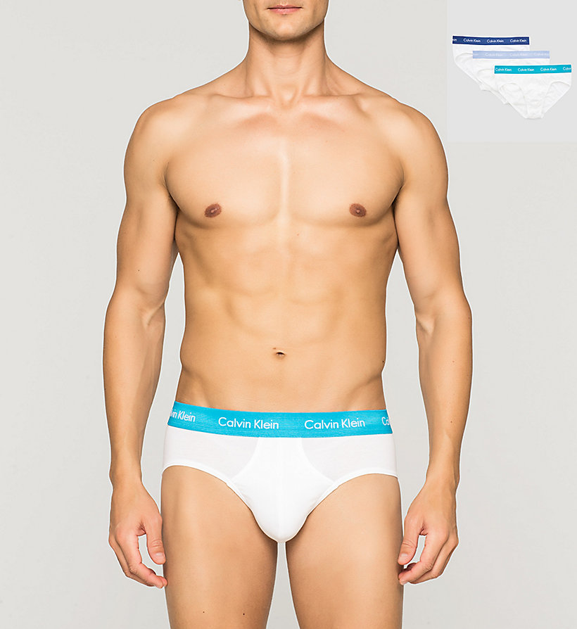 CALVINKLEIN 3 Pack Hip Briefs - Cotton Stretch - BLACK/COBALT W/BLUE - CALVIN KLEIN UNDERWEAR - main image