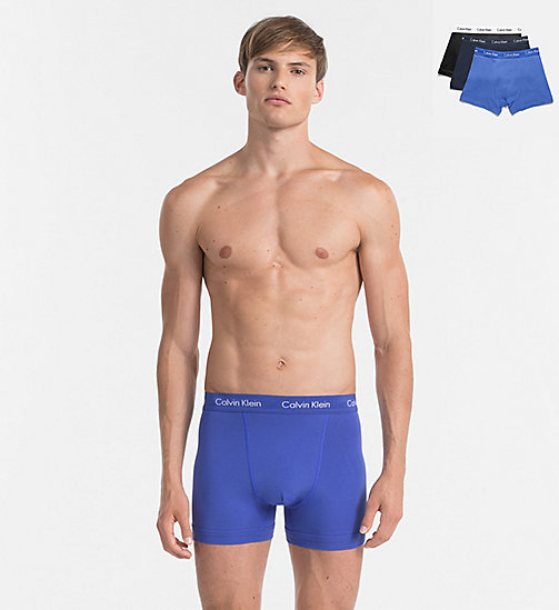 CALVINKLEIN 3-pack boxers - Cotton Stretch - BLACK/COBALT W/BLUE - CALVIN KLEIN BOXERS - main image