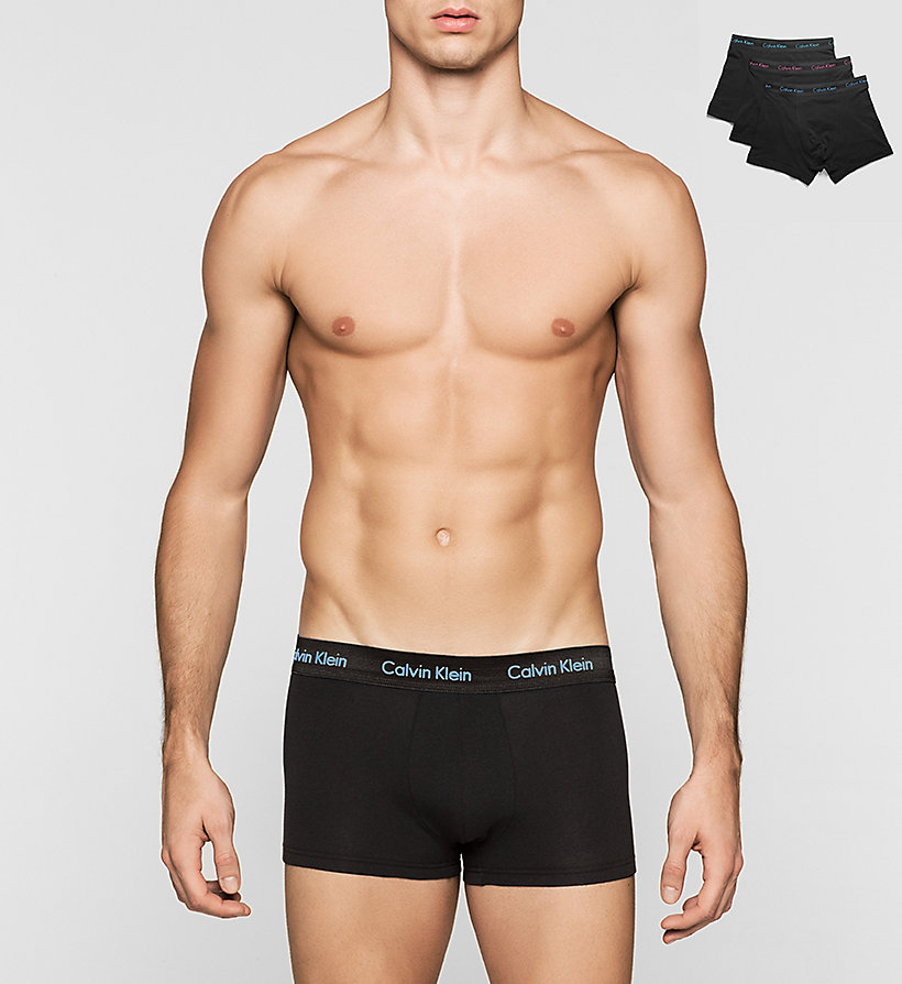 CALVINKLEIN 3 Pack Low Rise Trunks - Cotton Stretch - W-SILVER LAKE/DARK MIDNIGHT/P - CALVIN KLEIN UNDERWEAR - main image