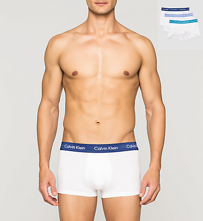 CALVIN KLEIN 3 Pack Low Rise Trunks - Cotton Stretch 0000U2664GWVG