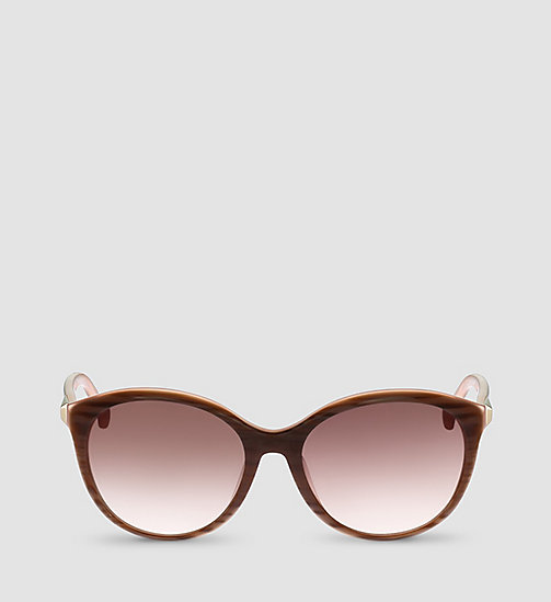 CALVINKLEIN Round - STRIPED BROWN ROSE/GRAD ROSE - CALVIN KLEIN SUNGLASSES - detail image 1