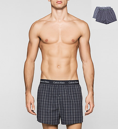 CALVINKLEIN 2 Pack Boxers - JUNIPER PLAID-CLIFF STRIPE/CA - CALVIN KLEIN MULTIPACKS - main image