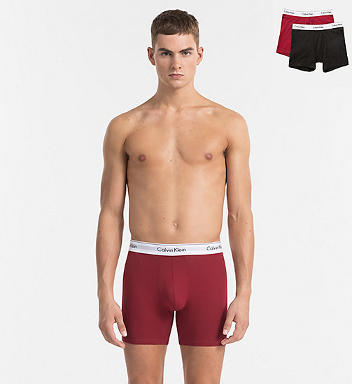 2-pack boxers - Modern Cotton - DYLAN RED / BLACK - CALVIN KLEIN HEREN - main image