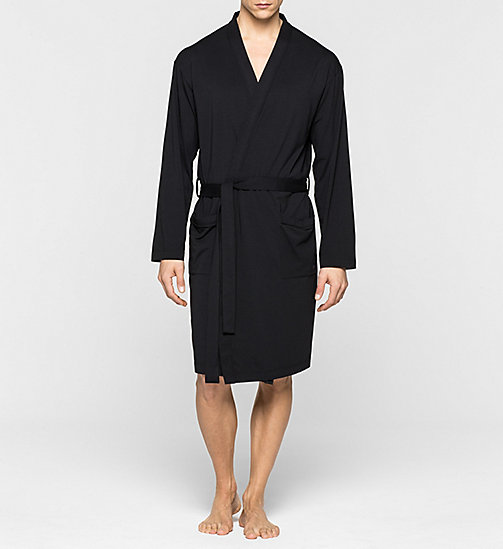 CALVINKLEIN Robe - Cotton Modal - BLACK - CALVIN KLEIN BATHROBES - main image