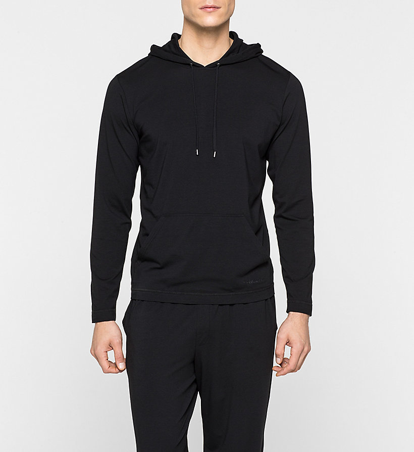 CALVINKLEIN Hoodie - Cotton Modal - BLACK - CALVIN KLEIN JUMPERS - main image