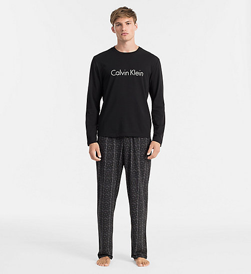 CALVINKLEIN PJ Set - MUSIC BOX GRID SILVER NICKEL / BLACK - CALVIN KLEIN LOUNGEWEAR - main image