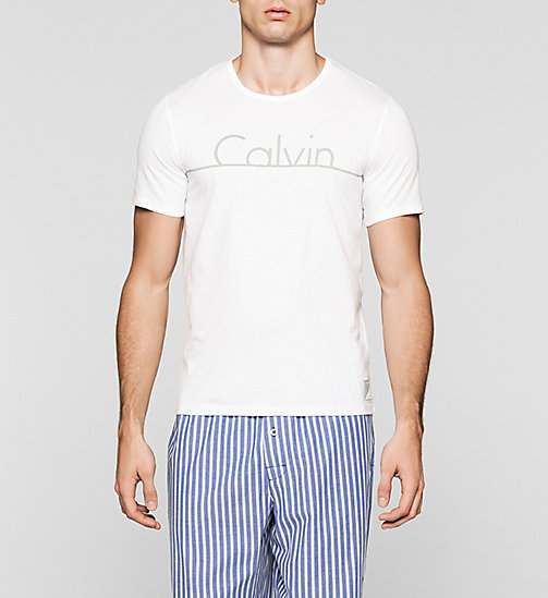CALVINKLEIN T-shirt - Calvin Klein ID - WHITE W/ GREY CUT LOGO - CALVIN KLEIN Up to 40% - main image