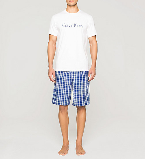 CALVINKLEIN Logo PJ Set - WHITE TOP / WICK PLAID DARK M - CALVIN KLEIN NIGHTWEAR & LOUNGEWEAR - main image
