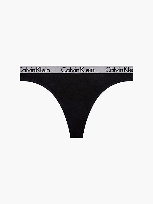 Thong - Radiant Cotton - BLACK - CALVIN KLEIN UNDERWEAR - main image