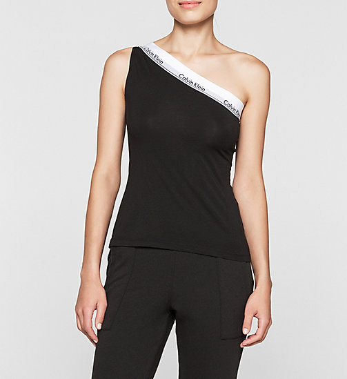 CALVINKLEIN One Shoulder Top - Modern Cotton - BLACK - CALVIN KLEIN PYJAMA TOPS - main image
