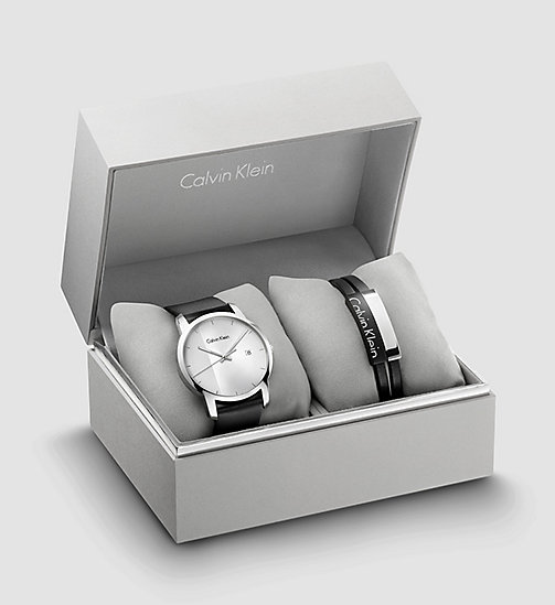 CALVINKLEIN Watch and Bracelet Gift Set - SST/ BLACK LEA / SILVER - CALVIN KLEIN SHOES & ACCESSORIES - main image