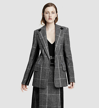 CALVIN KLEIN COLLECTION Veste en laine Prince de Galles et cuir 02503407CO958