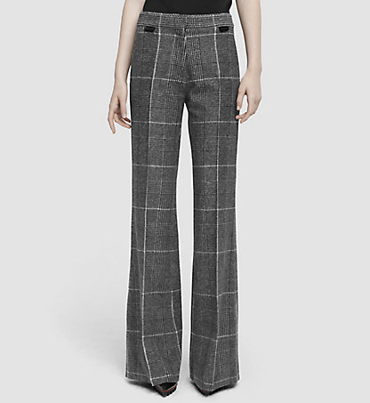 CALVIN KLEIN COLLECTION Prince of Wales Wool Wide Leg Trousers 03542284CO958
