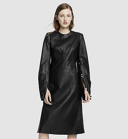 CALVIN KLEIN COLLECTION Robe à manches longues en cuir 35568162CO001
