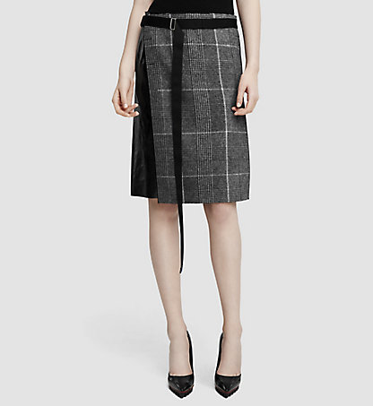 CALVIN KLEIN COLLECTION Prince of Wales Wool and Leather Skirt 39538153CO001