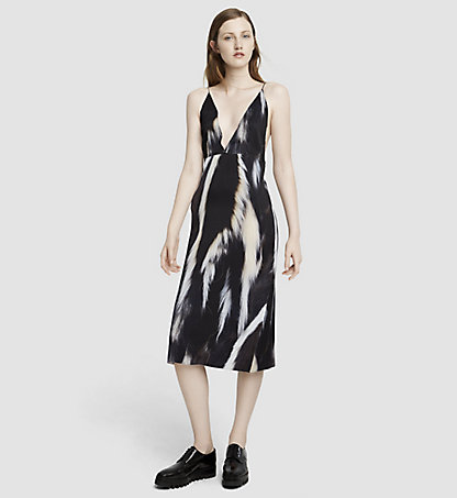 CALVIN KLEIN COLLECTION Skunk Print Silk Slip Dress 52564157CO008