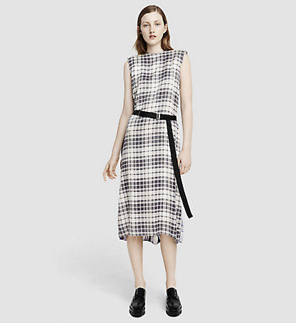 CALVIN KLEIN COLLECTION Printed Plaid Silk Dress 52564161CO959