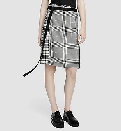 CALVIN KLEIN COLLECTION Pleated Silk Plaid Skirt 53532108CO972